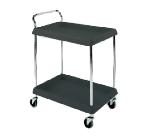 """Deep Ledge Utility Cart, 2-tier with open base, 32-3/4""""W x 21-1/2""""D x 41""""H, adjustable polymer shelves with 2-3/4""""H ledges on all sides, 150lbs per shelf capacity (400lbs total capacity), handle on short side, with (4) swivel/resilient tread casters, black, no-tool assembly, NSF"""