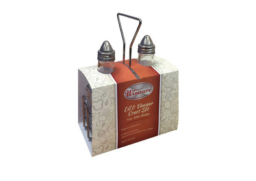 Oil & Vinegar Set, includes: (2) 6 oz. square glass cruets with lids (G-104), (1) square chrome plated wire holder
