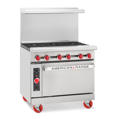 """Heavy Duty Restaurant Range, gas, 36"""", (6) 32,000 BTU open burners, 26-1/2"""" standard oven, includes (1) rack, stainless steel front, sides & high shelf, 6"""" chrome plated legs, 67.0kW, 227,000 BTU, ETL-Sanitation, Made in USA. SHOWN WITH OPTIONAL ACCESSORIES."""