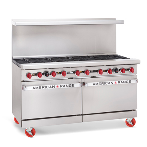 """Heavy Duty Restaurant Range, gas, 60"""", (10) 32,000 BTU open burners, (2) 26-1/2"""" ovens with one rack each, stainless steel front, sides & high shelf, 6"""" chrome plated legs, 114. 0kW, 390,000 BTU, ETL-Sanitation, Made in USA. SHOWN WITH OPTIONS"""