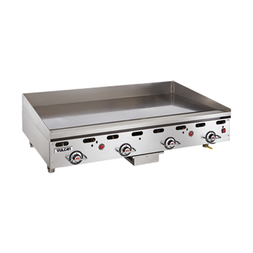 "Heavy Duty Griddle, countertop, gas, 36"" W x 24"" D cooking surface, 1"" thick polished steel griddle plate, embedded mechanical snap action thermostat every 12"", millivolt pilot safety, electric spark or manual ignition, front manifold gas shut-off valve, low profile, stainless steel front, sides, front grease trough, 4"" back & tapered side splashes, 4"" adjustable legs, 81,000 BTU, CSA, NSF"