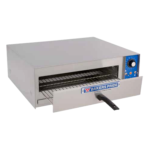 """HearthBake Series Oven, countertop, electric, pizza, 17-5/8""""W x 17-5/8""""D bake deck, single 3"""" high deck, slide out wire baking rack, thermostat to 680°F, 15 min. timer, stainless steel exterior finish, 1"""" legs, 1.8kW, NSF, UL, CE, CSA"""
