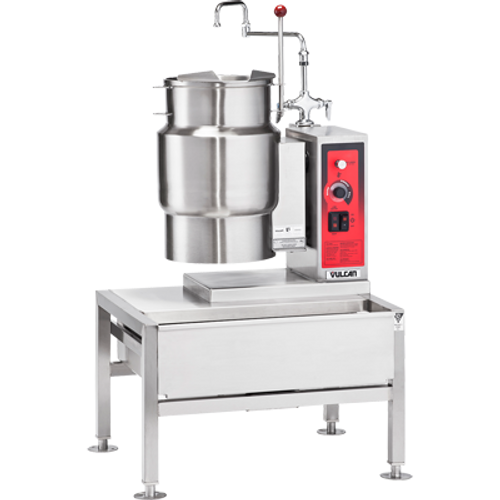 Tilting Kettle, Electric, 6-gallon true working capacity, 2/3 jacketed countertop model, stainless steel construction with 316 series stainless steel liner, stainless steel splash proof console on right with faucet bracket, cleaning lock, stainless steel tilt handle, 50 psi, cUL