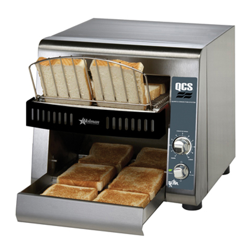 """(QUICK-SHIP) Star QCS® Conveyor Toaster, electric, 350 slices/hr., horizontal conveyor, analog speed control, standby switch, top & bottom quartz sheathed heater elements, 1-1/2"""" opening x 10"""" W belt (2 slices) with loading rack, stainless steel construction with smooth cool touch exterior, cULus, UL EPH Classified"""