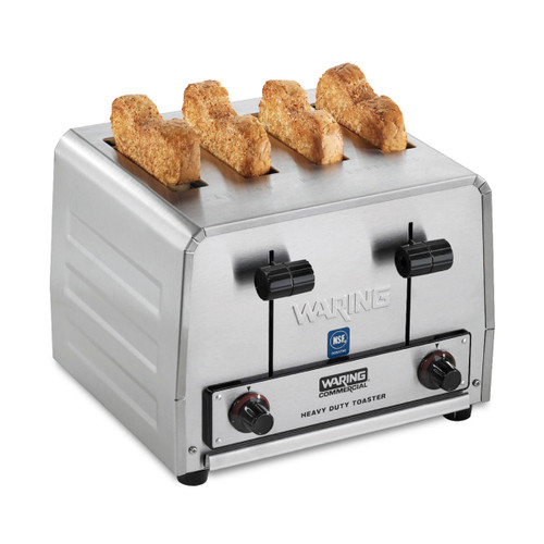 """Commercial Toaster, heavy-duty, (4) 1-1/8"""" slots, (4) slice capacity (up to 300 slices/hr), (2) rotary dial to adjust browning controls, removable crumb tray, carriage control levers, replaceable industrial heating plates, brushed stainless steel finish, NEMA 5-20P, 120v/50/60/1-ph, 18.33 amps, 2200 watts, cETLus, NSF"""
