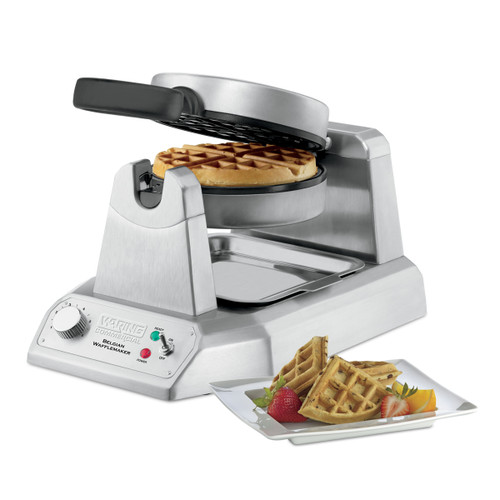 """Belgian Waffle Maker, heavy-duty, single, up to (25) 7"""" diameter, 1"""" thick waffles per hour, audio beep signal, rotary feature, power & ready-to-bake LED indicators, embedded heating element, triple-coated non-stick plates, heavy duty die cast housing, 120v/60/1-ph, 1.2kW, 10.0 amps, cord, NEMA 5-15P, cETLus, NSF"""