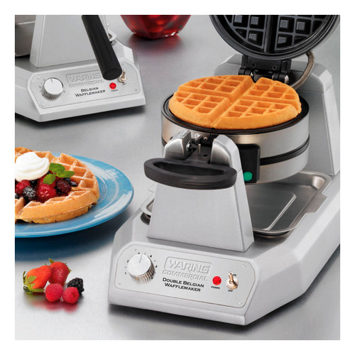 """Belgian Waffle Maker, double, up to (50) 7"""" diameter, 1"""" thick waffles per hour, audio beep signal, vertical design & rotary feature, power & ready-to-bake LED indicators, embedded heating element, non-stick plates, heavy duty die cast housing, 120v/60/1-ph, 1.4kW, 11.6 amps, cord, NEMA 5-15P, cETLus, NSF"""