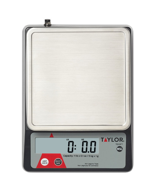 "Portion Control Scale, digital, compact, 11 lb. x .1 oz./5 kg x 1 g capacity, 0.9"" LCD display, 5.4"" x 5.4"" stainless steel platform with marine edge, tare & hold function, auto-off & disable auto-off function (powered by batteries), uses AC adaptor (included) or (2) AAA batteries (not included), NSF"