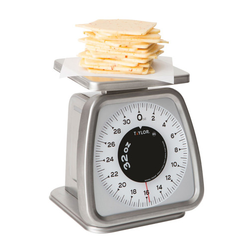 "Portion Control Scale, analog, 32 oz. x 1/4 oz. capacity, angled, fixed dial, top loading counter model, bold graphics, shatterproof lens, 6"" x 5-1/4"" removable platform, stainless steel construction, NSF"