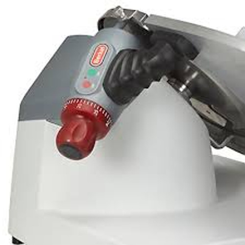 """Premium Food Slicer, manual operation only, 13"""" diameter stainless steel knife, 45° gravity feed, adjustable slice thickness up to 1-5/16"""", ergonomic controls and index knob location, removable sharpener, permanent knife ring guard, sealed pushbutton controls, anodized aluminum gauge plate and knife cover, one piece polymer base and product table (NSF approved) for reduced seams and easy cleaning, includes kickstand, product capacity up to 8½"""" round, 7½"""" square, or 10½"""" x 6¾"""" rectangular, includes no-volt release, 1/2 HP, 120v/60/1-ph, 8.0 amps, 6' power cord with NEMA 5-15P,  cETLus, ETL-Sanitation (US/EXP configuration)"""
