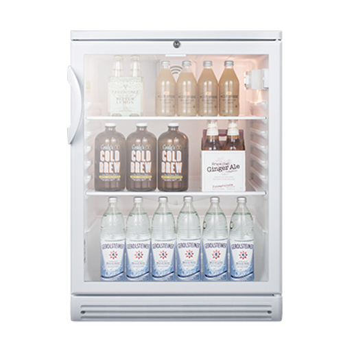 """Refrigerated Merchandiser, reach-in, one-section, built-in or freestanding, 24""""W, 5.5 cu. ft. capacity, automatic defrost, (1) right-hinged (reversible) double pane tempered glass door with lock, (4) adjustable glass shelves, interior light, dial thermostat, interior fan, white interior & exterior color, R600A Hydrocarbon refrigerant, 115V/60/1-ph, 1.8 amps, UL, ULC, ETL-Sanitation to NSF-7 (Commercial)"""