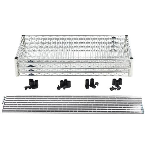 "Super Erecta® Convenience Pak Shelving Unit, 60""W x 24""D x 74""H, (4) wire shelves with clips & (4) split posts with adjustable feet, Super Erecta Brite™ finish, KD, NSF"