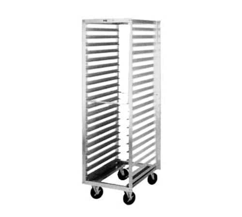 """Tray Rack, mobile, end load, single section, pass-thru, 21-1/2""""W x 69-1/4""""H, 29""""D, pass-thru, open sides with slides for (40) 14"""" x 18"""" or (20) 18"""" x 26"""" pans, slides on 3"""" centers, riveted aluminum construction, NSF"""