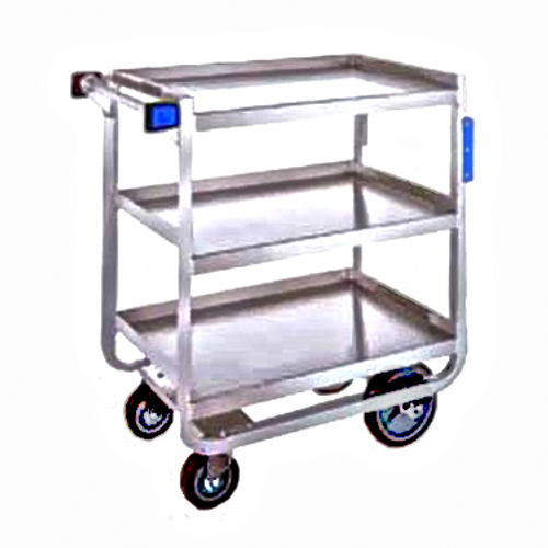 """Tough Transport® Utility Cart, 3-tier, 39""""W x 22-3/4""""D x 37-3/8""""H, stainless steel construction, open base U-frame with angled stainless steel, 21"""" x 33"""" 14-gauge shelves with reinforced edges, 11-3/8"""" shelf clearance, 1"""" O.D. tube push handle with bumpers, (2) 6"""" bumpers riveted to front legs, 1000 lb. capacity, (2) 5"""" reinforced swivel plate casters & (2) 8"""" fixed casters with non-marking polyurethane wheels, NSF, Made in USA"""