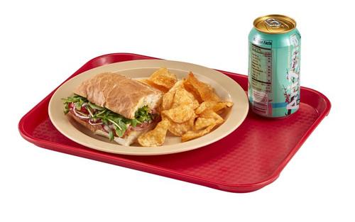 "Fast Food Tray, 13-13/16"" x 17-3/4"", rectangular, rigid bottom, textured surface, dishwasher safe, polypropylene, NSF"