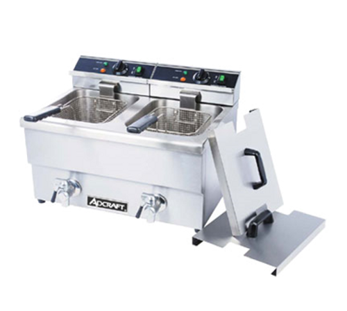 """Fryer, countertop, with faucet, 23"""" x 18"""" x 16"""", double, electric, 6 liter oil capacity (per pot), 25 lb. per hour cooking capacity (per pot), (2) fryer baskets with collapsible heat-resistant handles, thermostatic control, temperature range from 120°F to 375°F, side handles, inside calibration marks, protective wire grate, heavy duty stainless steel construction, 6' grounded cord, NSF, UL, CE"""