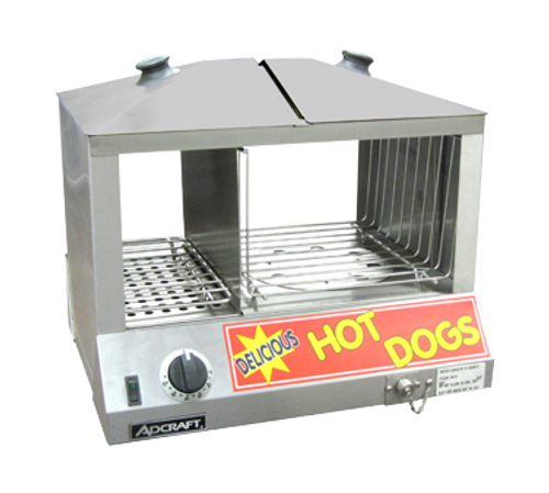 """Hot Dog & Bun Steamer, 18-1/4"""" x 14-1/2"""" x 15""""H, side by side, holds 100 hot dogs (6"""" x 12""""D x 8""""H) with separate bun compartment with humidity control (11""""W x 12""""D x 8""""), holds 36-48 buns, adjustable thermostat (80°F - 185°F), 20 minute cooking time, top loading, 6 qt. capacity water pan, front valve drain, stainless steel body & lids with tempered glass front & back, 120v/60/1-ph, 1200 watts, 10 amps, 4' cord, NEMA 5-15P, CE"""