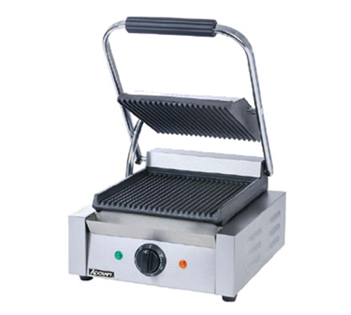 "Sandwich Grill, single, countertop, electric, 8-1/2"" x 9-1/4"" grill surface, cast iron grooved plates, adjustable thermostat control switch 120°F to 570°F, includes oil tray & cleaning brush, stainless steel, 120v/60/1-ph, 1750 watts, 14.5 amps, NEMA 5-15P, NSF, CE"