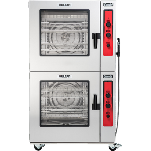 "Combi Oven/Steamer, electric, boilerless, (7) 18"" x 26"" full size sheet or (14) 12"" x 20"" full size hotel pan capacity, (3) knobs with LED displays for temperature, timer & humidity, auto-adjustment of humidity with temperature selection, auto-reversing fan with electronic braking system, cool to touch glass door, flashing door light & audible alert, (4) Grab n Go wire racks, stainless steel interior & exterior, engineered & assembled in USA, UL EPH Classified, cULus. 2 UNITS STACKED PICTURED"