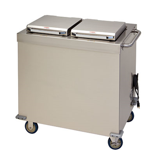 """Camtherm® Plate Heater, enclosed tubular frame, mobile design, two self elevating silo tubes, holds (50) 9"""" to 10-1/2"""" ceramic plates per silo (capacity varies on plate type/style), dual lids with stay cool handles, digitally controlled with adjustable settings, two hour heat up time, 2400 watt convection heating system, (4) NSF 5"""" casters, (2) rigid, (2) swivel with brakes, 304 stainless steel, 10.5 amps, 208-240v/50/60/1-ph, NEMA 6-15P, CETLus, ETL"""