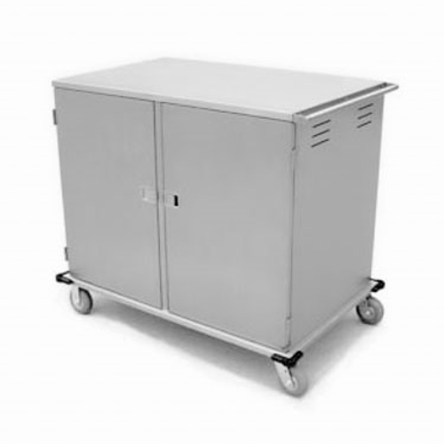 "Elite Series™ Tray Delivery Cart, low profile, enclosed-type, two door, double compartment, (32) 14"" x 18"" or 15"" x 20"" tray capacity, (2) trays per ledge, 5-1/4"" spacing, 270° door swing, corner bumpers, (2) 6"" fixed and (2) 6"" swivel Lake-Glide® casters, 2"" wide cushion tread tires, 200/300 stainless steel construction, NSF, Made in USA"