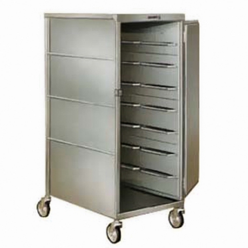 """Tray Delivery Cart, enclosed-type, single door, single compartment, (16) 15"""" x 20"""" tray capacity, (2) trays per ledge, 6"""" spacing, 270° door swing, 5"""" swivel casters, 200/300 stainless steel construction, NSF, Made in USA"""