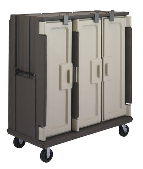 "Meal Delivery Cart, (modified for use in correctional facilities), tall profile, (3) doors, 3-compartments, holds (60) each 1411CW or 1411CP trays with 853 insert trays, 60""W x 29-1/4""D x 63-5/8""H, heavy duty aluminum handles with security screws, black finish, (1) per end, 6"" heavy duty casters, lock blocks on door hinge pins, granite sand with cream color door, NSF"