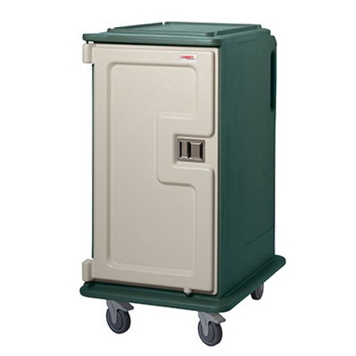 """Meal Delivery Cart, tall profile, (1) door, 2-compartments, holds (16) 14"""" x 18"""" trays, 28""""W x 36-1/2""""D x 58-1/8""""H, molded-in handles, 1 per end, 6"""" stainless steel casters (2 rigid, 2 swivel with brake), granite green with cream color door, NSF"""