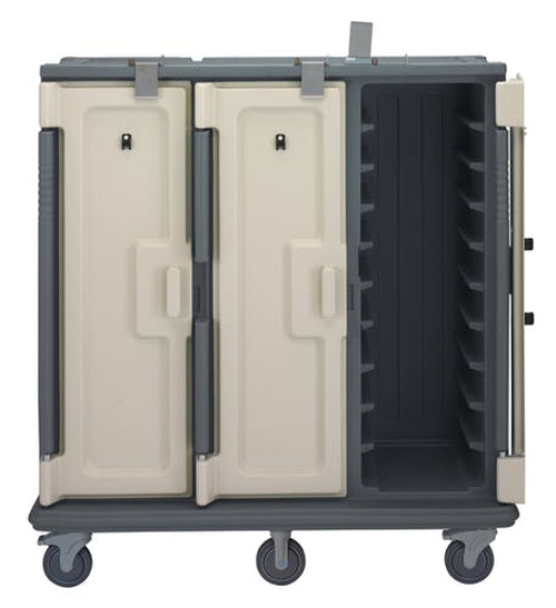 "Meal Delivery Cart, tall profile, (3) doors, 3-compartments, holds (30) 14"" x 18"" trays, 60""W x 29-1/4""D x 63-5/8""H, heavy duty nylon handles, 1 per end, 6"" stainless steel casters (2 rigid, 2 swivel with brake, offset), granite gray with cream color door, NSF"