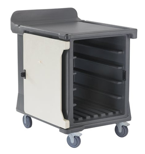"Meal Delivery Cart, low profile, (1) door, 1-compartment, holds (10) 15"" x 20"" trays, 29-1/2"" x 38-1/2""D x 42-1/2""H, molded-in handle on the back, with louvered vent, 5"" casters (2 fixed, 2 swivel with brake, offset), granite gray with cream color door, NSF"