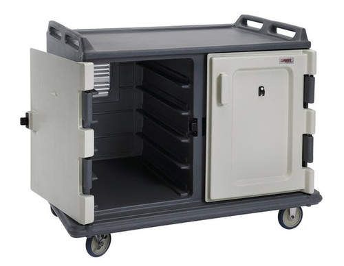 """Meal Delivery Cart, 55-1/8""""L x 38""""W x 44-1/4""""H, low profile, single stack rail system, double compartment with self-draining bottom, holds (20) 15"""" x 20"""" (38.1 x 50.8 cm ) trays, 5-1/2"""" (14 cm) clearance between rails, (2) lightweight non-rusting back aluminum louvered vents, nylon friction latches, non-insulated self venting doors, molded handles on both ends, (4) 6"""" (15.24 cm) non-marking slightly off-set casters (2 swivel with brakes & 2 rigid), thick foam polyurethane insulation, molded bottom bumpers, polyethylene, granite gray, NSF (no assembly required)"""