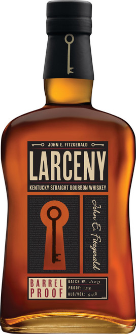 Buy Larceny Barrel Proof Bourbon online at sudsandspirits.com and have it shipped to your door nationwide.  Larceny Barrel Proof Bourbon is an ongoing offering released three times per year. Each release has its own unique batch number and proof that vary from edition to edition. It is non-chill filtered and made up of small batches of six to eight year old barrels.