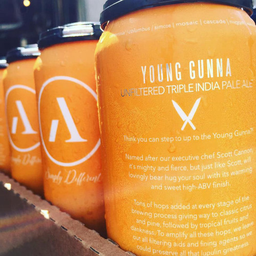 Buy Abnormal beer co Young Gunna Hazy Triple IPA online at sudsandspirits.com,  10.5% ABV brewed with Centennial, Columbus, Simcoe, Mosaic, Cascade, Nugget, Idaho 7 hops and have it shipped to your door nationwide.