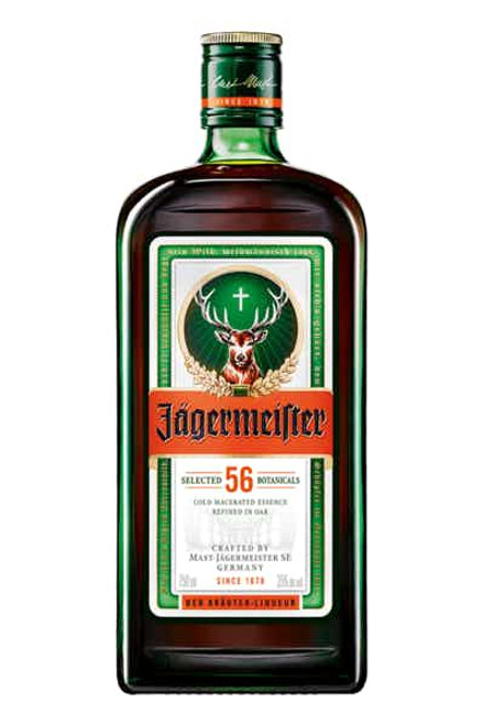 Jägermeister is a digestif made with 56 herbs and spices. Founded in 1934 by Wilhelm and Curt Mast, it has an alcohol by volume of 35%. The recipe has not changed since its creation over 75 years ago and is still served in its signature green glass bottle.