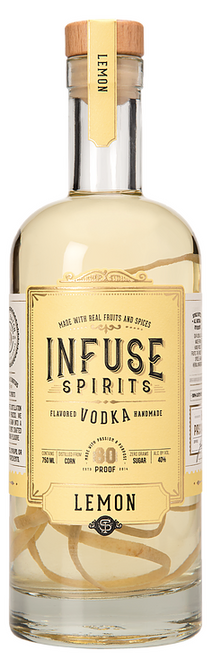 Buy Infuse Spirits Lemon online at sudsandspirits.com and have it shipped to your door nationwide. This gold-medal winning infusion is something to be marveled. The twists and turns of the thinly cut peel make for a perfect artistic visual in this craft vodka, as well speaks to the brand's natural-infusion ethos. Infuse's Lemon vodka has a pale yellow hue and bright candied-lemon peel scent. The spirit feels silky and viscous on the tongue and evokes waxy lemon peel flavors. Well-chilled, this is a bracing martini option.