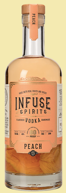 Buy Infuse Spirits Peach Vodka online at sudsandspirits.com and have it shipped to your door nationwide. A wave of fresh peaches hits you the moment you uncork the bottle. There isn't any artificial peach flavoring here. Instead, you'll find a familiar, pleasant, and sweet true-peach scent. And because of the vodka's corn base, the bright tawny spirit is reminiscent of peach-flavored bourbon—it has a boozy presence, yet a long finish with hints of vanilla and bruised peaches.