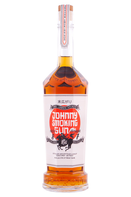 """Two James Johnny Smoking Gun Whiskey (750 ml). Johnny Smoking Gun is a story of East–Meets-West. This is a whiskey crafted specifically to compliment the """"umami"""" of the rich pork and fish broths of Japanese cuisine. Possessing intriguing smoke character from a two-stage maceration with a proprietary blend of Asian tea, this blend of 70% 7-year corn and 30% young rye will surely not disappoint. Enjoy and prosper!"""