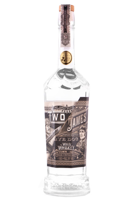 Two James Rye Dog Whiskey (750ml). We welcome you to taste our first expression of field-to-bottle whiskey. This Double Gold winner (2014 San Francisco World Spirits Competition), un-aged, Michigan rye possesses character beyond its years. Distilled from 100% locally grown rye grain from Wing Farms in Ann Arbor, Rye Dog possesses floral and citrus notes with a round mouth feel. Call me Rye Dog!