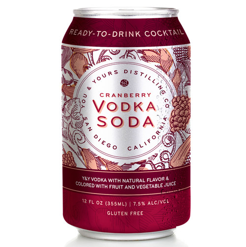 Cranberry Vodka Soda (355ml). Bring your taste buds alive with a burst of fresh cranberry and tart cherry goodness lovingly combined with the distinguished flavor of our distilled on-site, 100% grape-based Y&Y Vodka. Made with Y&Y Vodka with natural flavor and colored with fruit and vegetable juice. For best results, add your favorite people, some fine food and a sensational view.