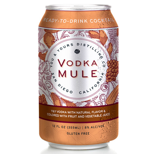 Vodka Mule (4 Pack - 355ml). When the situation calls for a classic cocktail, let the Moscow Mule carry you home. This little beauty is the perfect blend of our distilled on-site Y&Y Vodka, with natural flavor and colored with fruit and vegetable juice. A premium, well-balanced kick for any occasion.