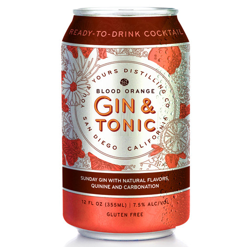 Blood Orange Gin & Tonic (4 Pack - 355ml). You & Yours Distilling Co Sunday London Dry Gin is vapor-distilled with juniper berries, fresh spruce tips, blood orange peel, pink peppercorn, clove and a touch of orris root. To take this gorgeous gin completely over the top is a crisp blood orange-scented tonic water and the teeniest touch of lime. Find us a better couple, we'll wait.