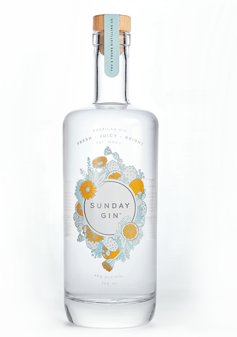 Y&Y Sunday Gin (750ml). A modern take on American-style gin. Fresh citrus, familiar juniper and an elegant floral finish create an elevated, highly drinkable gin. Distilled from grapes, bottled at 40% ABV.