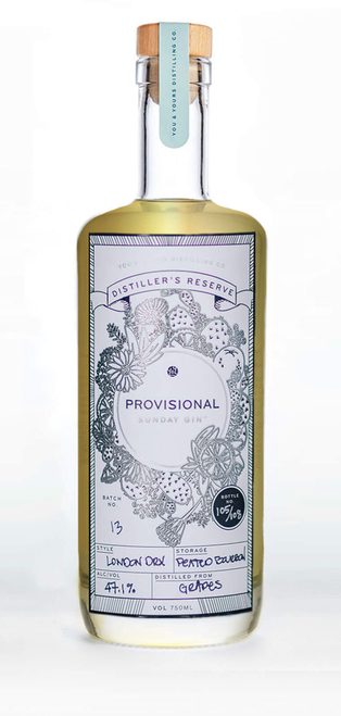 Y&Y Provisional Sunday Gin (750ml). From a new distillery in downtown San Diego comes a modern take on a classic spirit. This limited release distiller's reserve is a single malt batch in their Winter Gin style. 47.5% ABV