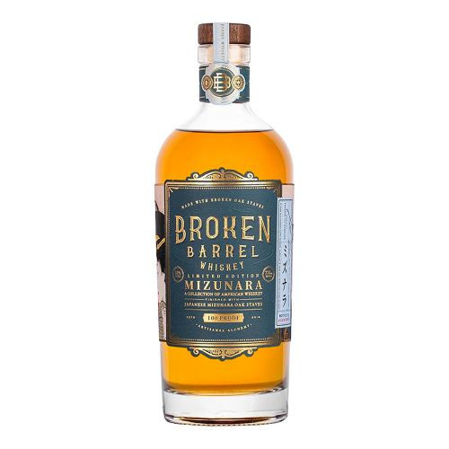"Broken Barrel Whiskey Mizunara Oak (750ml). Broken Barrel Mizunara is a true tale of East meets West. This artisanal whiskey blends American corn with Japanese mizunara oak staves. Both are matured together for a rare yet balanced combination. ​ Mizunara, literally translates to ""water oak."" This oak has become increasingly popular with the global growth of whiskey, and the majority of this oak is now sourced from Mongolia. It has a high moisture content and is much more porous than other commonly used oaks for barrel making. Making barrels out of Mizunara is quite challenging according to many coopers, as the porous properties of the casks are prone to leaking. ​  Our whiskey, as a result of using this most interesting oak for our Oak Bill™ resulted in a rich, harmonious blend that is both quintessentially American in sweetness and character, while still notably Japanese-styled in its mellow smooth finish. Broken Barrel Mizunara Whiskey is exceptionally flavorful and unforgettably clean tasting - a whiskey meant to be sipped, savored, and most importantly - shared."