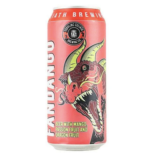 buy TOPPLING GOLIATH DRAGON FANDANGO 16OZ can at sudsandspirits.com Enjoy this Iowa- Gose- 4.2% ABV. This unique kettle sour, blended with dragon fruit, mango and passion fruit puree. Raise a glass, dance the fandango and celebrate the magic of these tropical fruits.