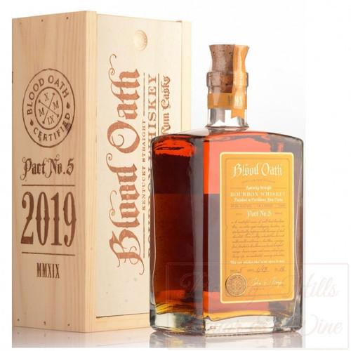 Buy Blood Oath Pact 5 bourbon online at sudsandspirits.com and have it shipped to your door nationwide. Blood Oath Bourbon Pact 5 is a masterful union of three well-bred bourbons. One, a 13-year mahogany bourbon, un‑apologetically peppery with shavings of dark chocolate. Two, an 11-year silky, wheated bourbon rich with vanilla and honey. And three, an 8-year find, finished in Caribbean rum barrels to impart orange, brown sugar and warm island spice. Every sip, an uncharted, sensory adventure.
