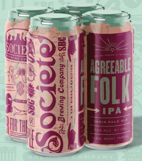 Buy SOCIETE AGREEABLE FOLK IPA online at sudsandspirits.com and have it shipped to your door nationwide. Societe Agreeable Folk IPA is an easy drinking IPA clocks in at a surprising 7.5%, and is packed with Citra, Comet, and Idaho 7 hops. This tropical mouth party is bursting with vibrant notes of apricot, nectarine, and mango, accompanied by some underlying resinous and citrus characters.