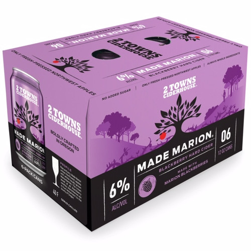 2 Towns Made Marion Blackberry Cider 6-Pack Can