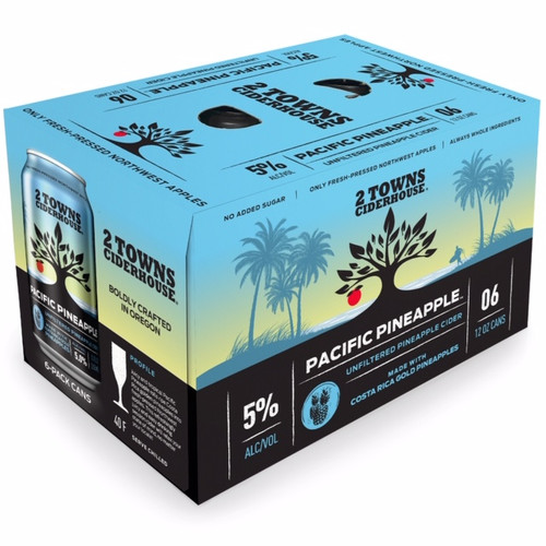 2 Towns Pacific Pineapple Cider 6-Pack Can (12oz). Juicy and tropical, Pacific Pineapple rolls ripe Costa Rica golden pineapples into fresh-pressed Northwest apples. This refreshingly juicy and easy drinking session cider will relax your state of mind, no matter your locale!