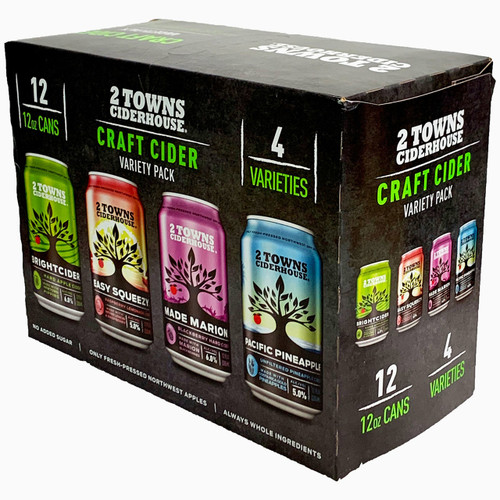 Containing some of 2 Towns best ciders, this variety pack contains 12 cans, with 4 different types of ciders. Showing off the versatility of hard cider, this pack includes 3 cans each of: Bright Cider Easy Squeezy Made Marion Pacific Pineapple